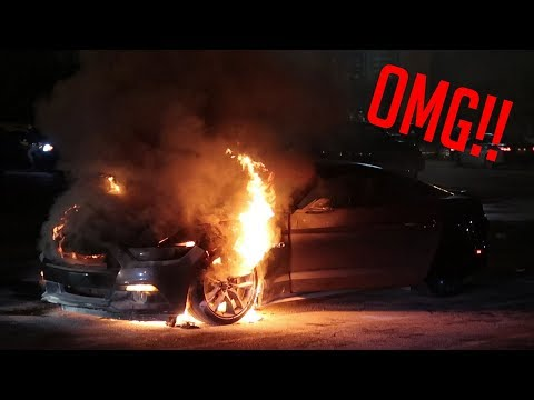 MUSTANG BURNS TO THE GROUND AFTER DONUTS AT CAR MEET!!!