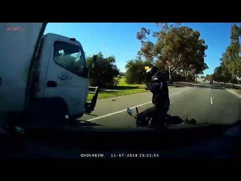 Motorbike Rider has close call with Truck - Perth