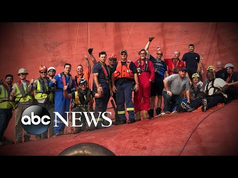 Rescuer describes saving crew on capsized ship l ABC News