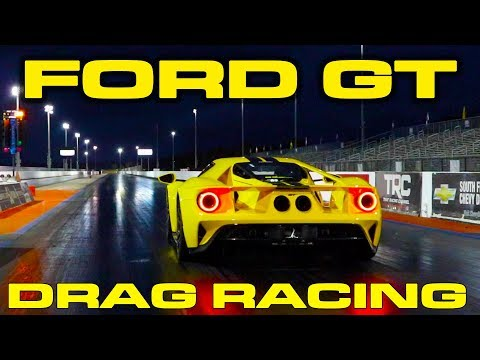 2018 Ford GT 1/4 Mile Drag Racing with VBOX Data & Lamborghini Aventador Roll Race