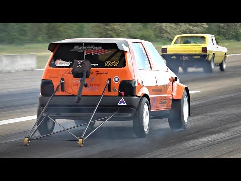 9000+rpm Fiat UNO Turbo FWD Drag MONSTER! - Screaming Engine Sound + ONBOARD!