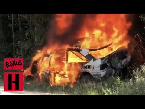 FIRE!!! Ken Block's Racecar Burns to a Crisp - RAW In-Car Roll and Fire