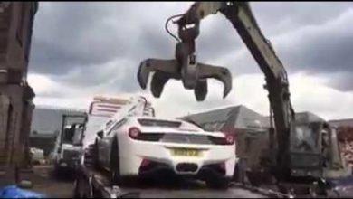 Photo de Vidéo : Une Ferrari 458 Spider a été détruite après avoir été saisie