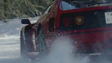Photo de Vidéo : Petite séance de drift en Ferrari F40 sur une piste de ski