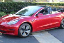 Photo de USA : Un préparateur transforme la Tesla Model 3 en un cabriolet